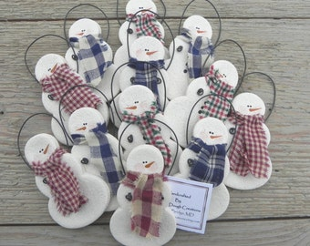 Salt Dough Snowmen Wholesale Set of 10 / Party Favors /  Winter Wedding Favors /  Napkin Rings