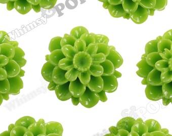 20mm - Green Apple Dahlia Chrysanthemum Flower Cabochons, Flower Cabs, Large Chrysanthemum Flatbacks, Mum Shaped, Mum Cabochons (R2-082)