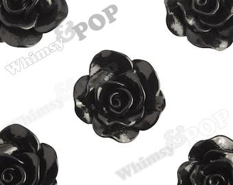 Large Black Rose Cabochons, Flower Cabochons, Rose Flatback, 30mm x 28mm (R3-061)