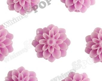 15mm - Lilac Purple Chrysanthemum Flower Cabochons, Flower Cabs, Dahlia Flatbacks, Mum Shaped, Flat Back Mums, Glue On Flowers (R3-110)