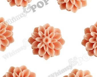 15mm - Coral Chrysanthemum Flower Cabochons, Flower Cabs, Dahlia Flatbacks, Mum Shaped, Flat Back Mums, Glue On Flowers (R3-106)