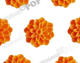 15mm - Mandarin Orange Chrysanthemum Flower Cabochons, Flower Cabs, Flat Back Embellishment, Dahlia Flatbacks, Mum Shaped, (R3-106)