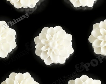 15mm - Cream White Chrysanthemum Flower Cabochons, Dahlia Flatbacks, Mum Shaped, (R3-109)