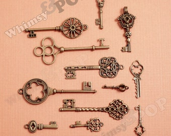 12 - Antique Bronze Multi-Pack Skeleton Key Pendant Style Charms, Various Size Key Charms, Key Pendants (R2-160)