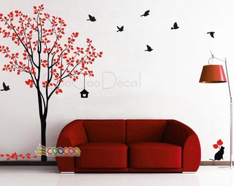 "Wall Decal, wall Stickers , Nursery wall decal, Removable, cat tree, 2 colors DC02232 84""H"