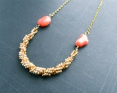 Gold Coral Necklace - Hand Woven Seed Bead Spiral Rope