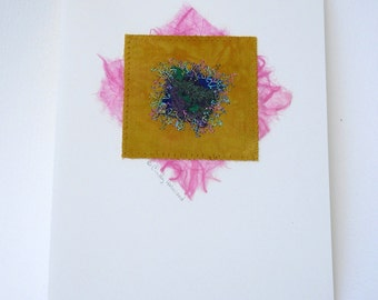 Greeting Card, Mixed Media, Mustard Yellow, Pink