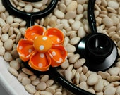 Stethoscope ID Tag Flower- Tangerine Polka Dots Blossom (Round)