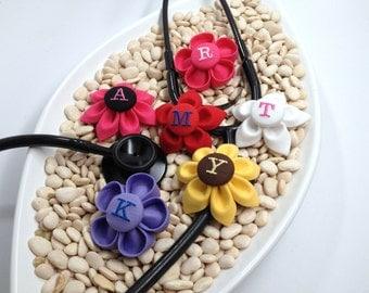 CUSTOM Monogrammed Stethoscope ID Tag Flower