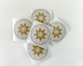 Round Floral Stickers in white and kraft paper,wedding envelope seals, favor stickers, kraft stickers