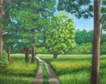 Original art Oil painting  Forest /summer painting trees 11''x 14''
