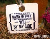"8 - Adorable  ""Will You Be My Groomsman"" - wedding party invitation - Beer Mug Tags - 8 pack"