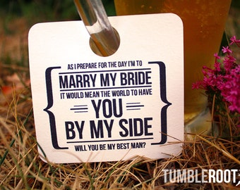"2 - Adorable  ""Will You Be My Groomsman"" - wedding party invitation - Beer Mug Tags - 2 pack"