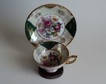 Vintage Green Teacup with Pink Roses