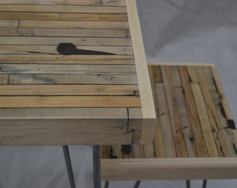 Reclaimed Maple Stool - Boxcar Maple / Hairpin Legs