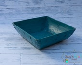 Teal Antique Chinese Wood rice bucket, Newborn Photography Prop- Ready to Ship