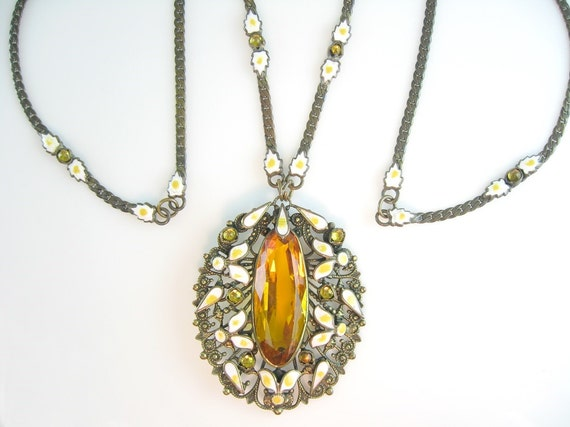 Art Deco Necklace Czech Enamel Topaz Glass Gilt Filigree Pendant Vintage 1920s Jewelry