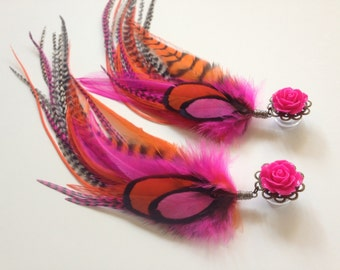 Long Dangle Feather Plugs Hot Pink Orange Grizzly 00g 0g 6g, 2g, 4g Ear Plugs You Pick Rose Color for Screw Back Tunnel Body Jewelry