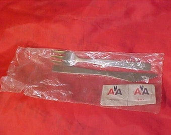 AA American Airlines Mint Set of vintage Knife Fork Salt pepper sealed