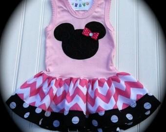 Girls Custom Dress Girls Chevron Dress Girls Dresses Baby Dresses Mouse Dress Chevron Dress   Available in 0-3 months through Size 6/8