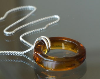 AMBER Glass Bottle Necklace, Recycled Glass Jewelry, Handmade Sterling Silver Upcycled Jewelry, Dessin Creations