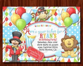 Carnival Circus Birthday Invitation printable digital file