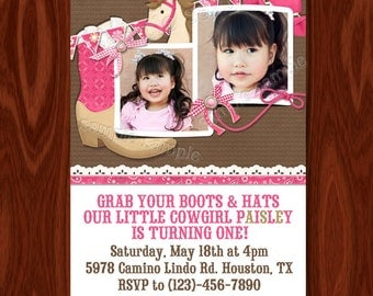 NEW Cowgirl Themed Birthday Invitation printable digital file