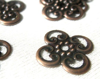 Filigree Stamping Small Flower Shape in Antique Copper 20 pieces
