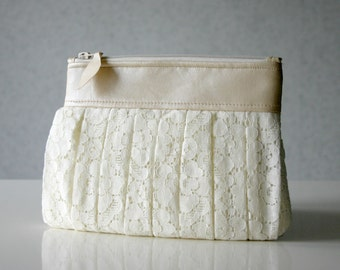 Bridal lace and leather Ruched clutch pleated lace pearl effect leather