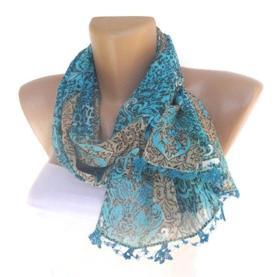 scarf , women scarves with lace new design shawl / neckwarmer /cowl /chiffon scarf, for woman, fashion accessory, scarves