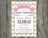 Baby Shower Invitation Printable Chevron Banner