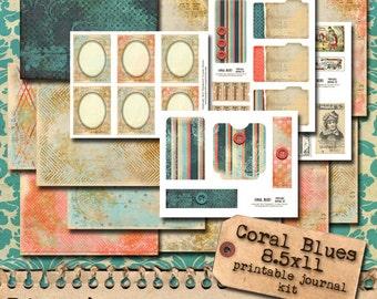 Coral Blues Hybrid Journal Kit - digital download paper set