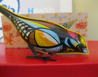 Vintage Russian Made Tin Windup Toy -  Pecking Bird.  MIB. Great action & colors. Long out of production