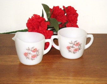 1950s Fire King Fleurette Pattern Milk Glass Cream & Sugar Set / Excellent Condition