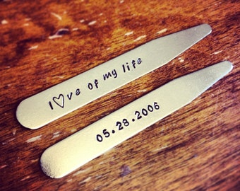 Wedding Date Collar Stays - Love of My Life - Groom's Gift - Husband's Anniversary Gift