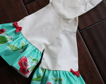 Plain Jane Turquoise w/Red Cherries Oilcloth Gloves - Latex Free - Not Just for Cleaning (Size Med)