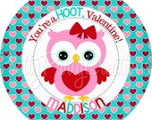 SWEETHEART OWLS favor tags - teal, pink and red- 2 to choose - YOU Print