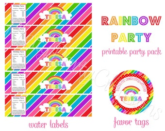 RAINBOW PARTY pack - U PRINT - toppers, favor tags, invite, banner water labels, and more