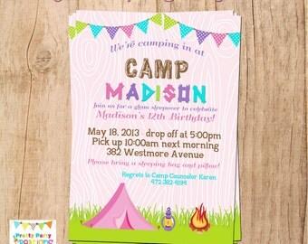 GIRLY CAMPING invitation - birthday/sleepover - YOU Print