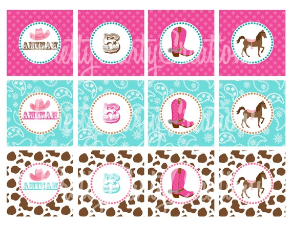 COWGIRL cupcake toppers / favor tags / stickers - YOU PRINT - pink and aqua