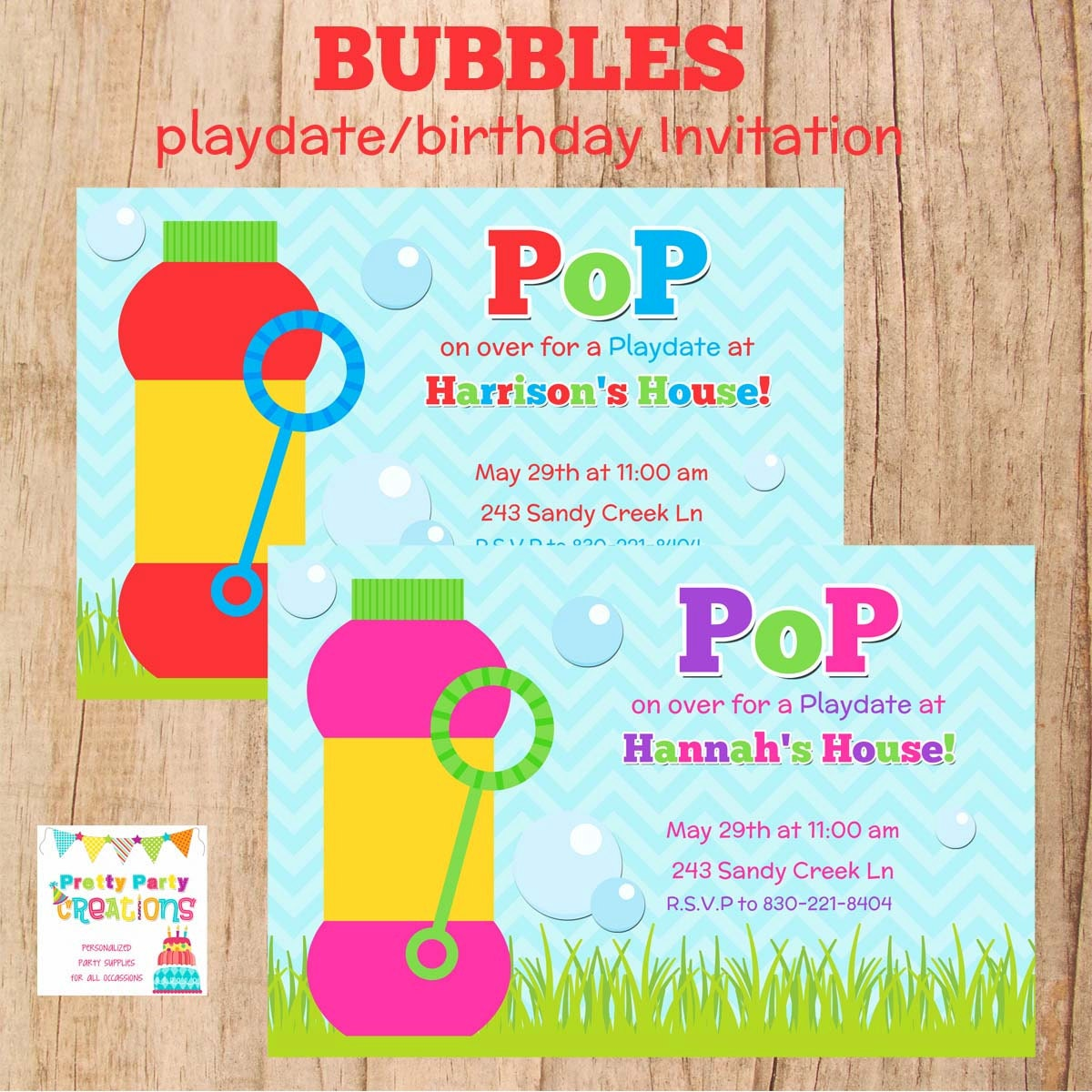 Bubbles Playdate Or Birthday Invitation 2 To Choose You