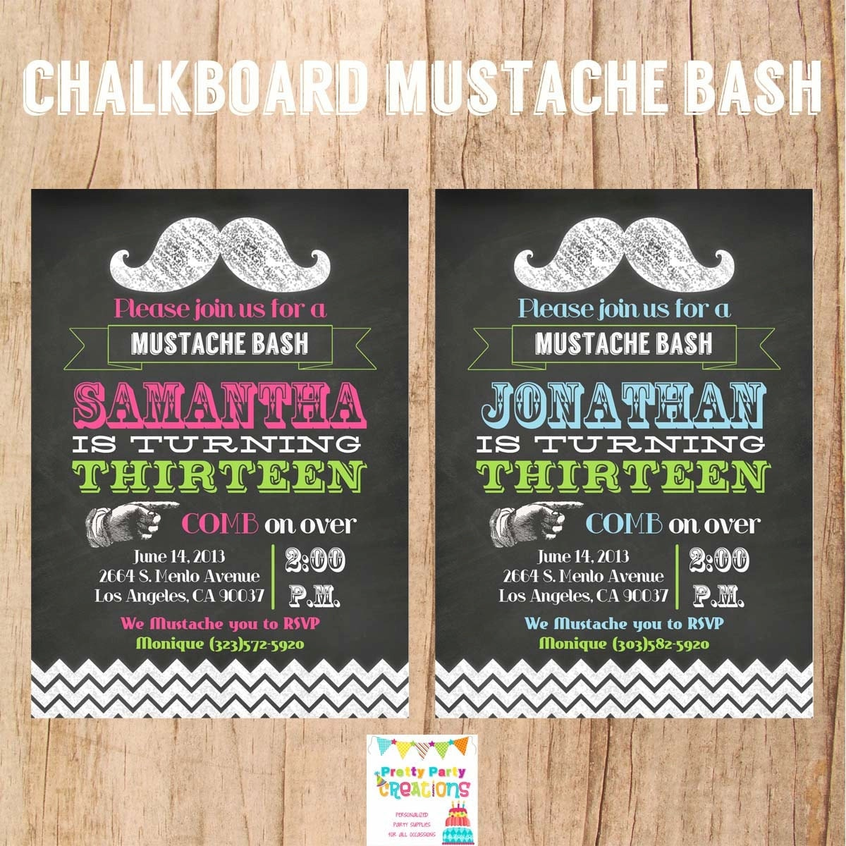 CHALKBOARD MUSTACHE invitation YOU Print – Chalkboard Invitation