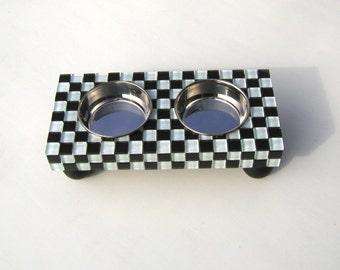 Elegant Dog Feeder, dog or cat bowls, checkerboard feeder, 50's diner, posh diner, elevated dog bowls, raised cat bowls