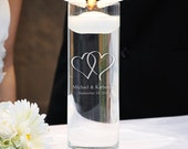 """Personalized """"Cylinder Memorial Floating Candle"""" Double Heart logo"""