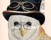 Steampunk Owl: Art Poster Digital Art Original Illustration Giclee Print Wall art Wall Hanging Wall Decor Animal Painting