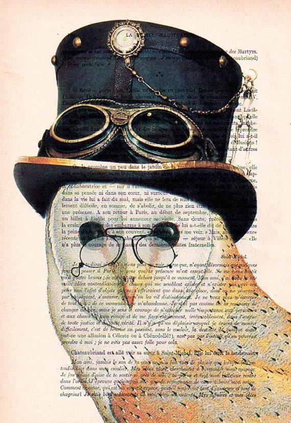 Items similar to Steampunk Owl: Art Poster Digital Art ...