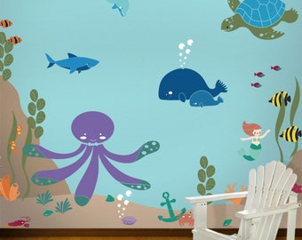 Under the Sea Wall Mural Stencil Kit for Kids Baby Room (stl1008)