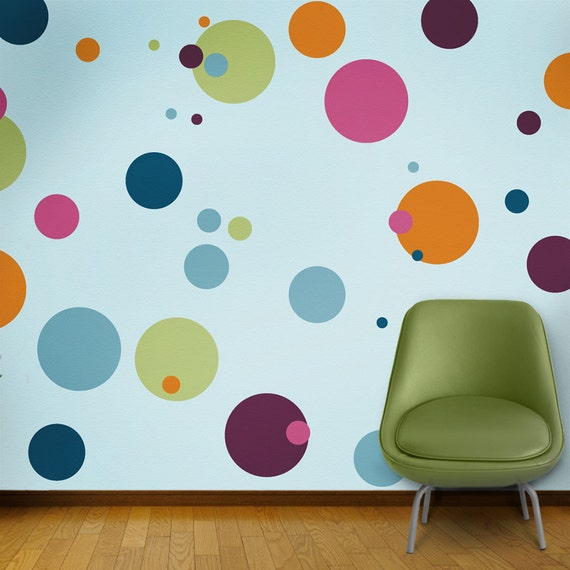 Polka dot wall mural stencil kit for girls or baby room for Girls bedroom paint ideas polka dots