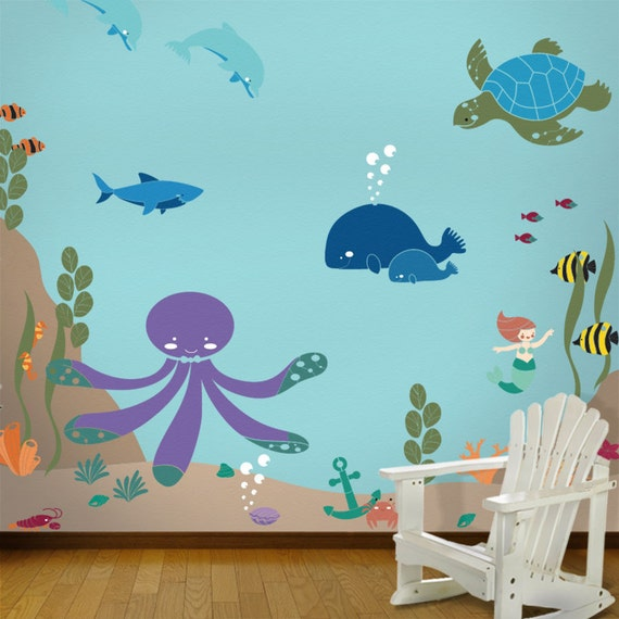 under the sea wall mural stencil kit for kids baby room. Black Bedroom Furniture Sets. Home Design Ideas