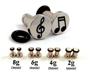 Musician Single Flared Surgical Steel Plugs - 8g (3mm) 4g (5mm) 2g (6mm) Music Notes and Treble Clef Symbol Metal Ear Gauges